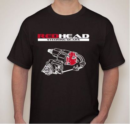 Picture of Black-T-Shirt with RedHead Steering Gears Logo